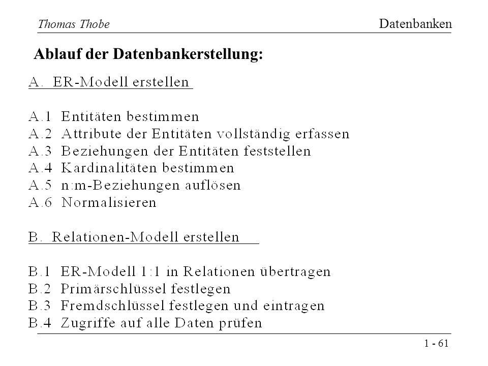 1 - 61 Thomas Thobe Datenbanken Ablauf der Datenbankerstellung: