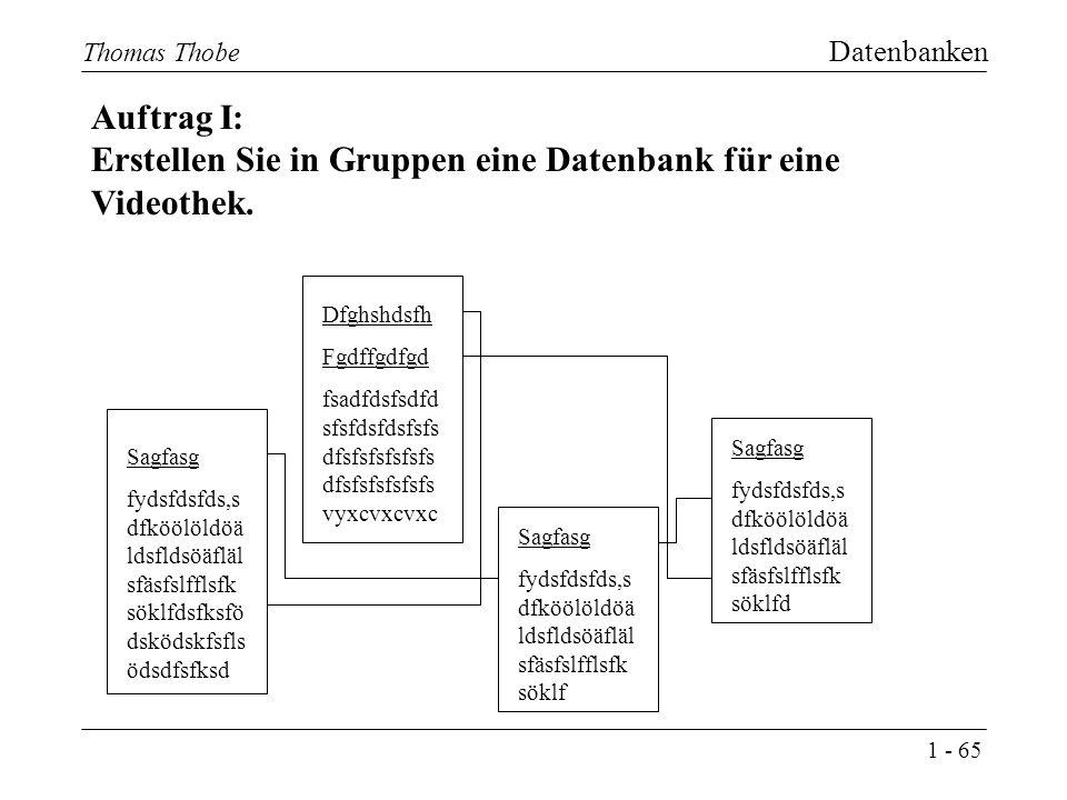1 - 65 Thomas Thobe Datenbanken Auftrag I: Erstellen Sie in Gruppen eine Datenbank für eine Videothek.