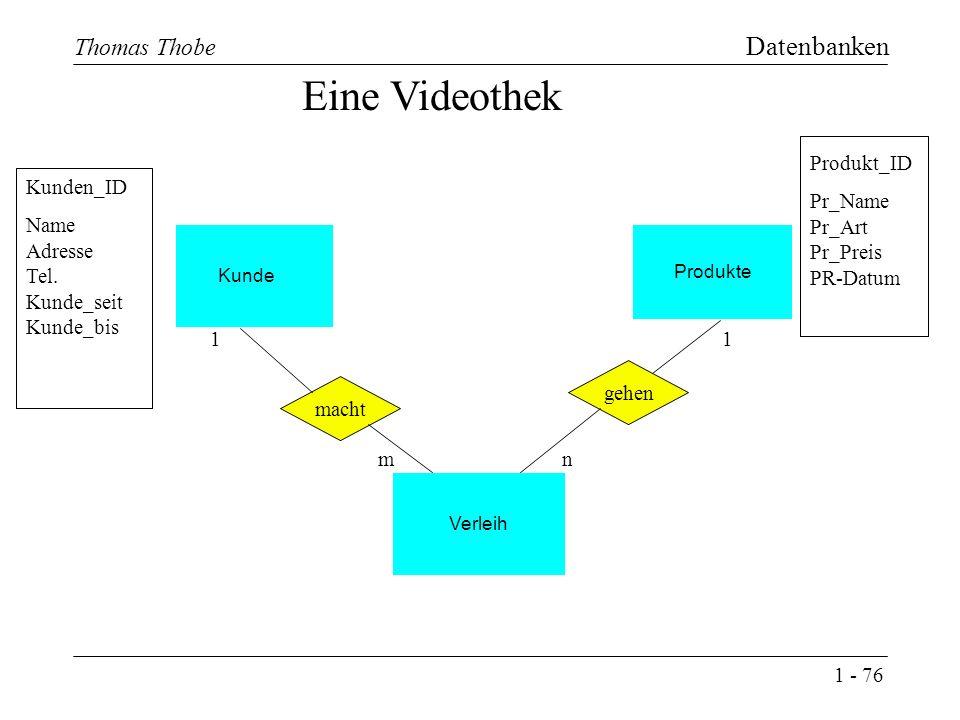 1 - 76 Thomas Thobe Datenbanken Produkte Kunde Eine Videothek macht Verleih gehen 1 n 1 m Kunden_ID Name Adresse Tel.