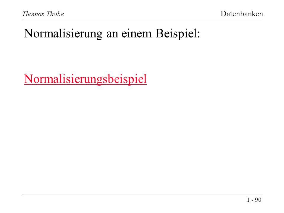 1 - 90 Thomas Thobe Datenbanken Normalisierung an einem Beispiel: Normalisierungsbeispiel