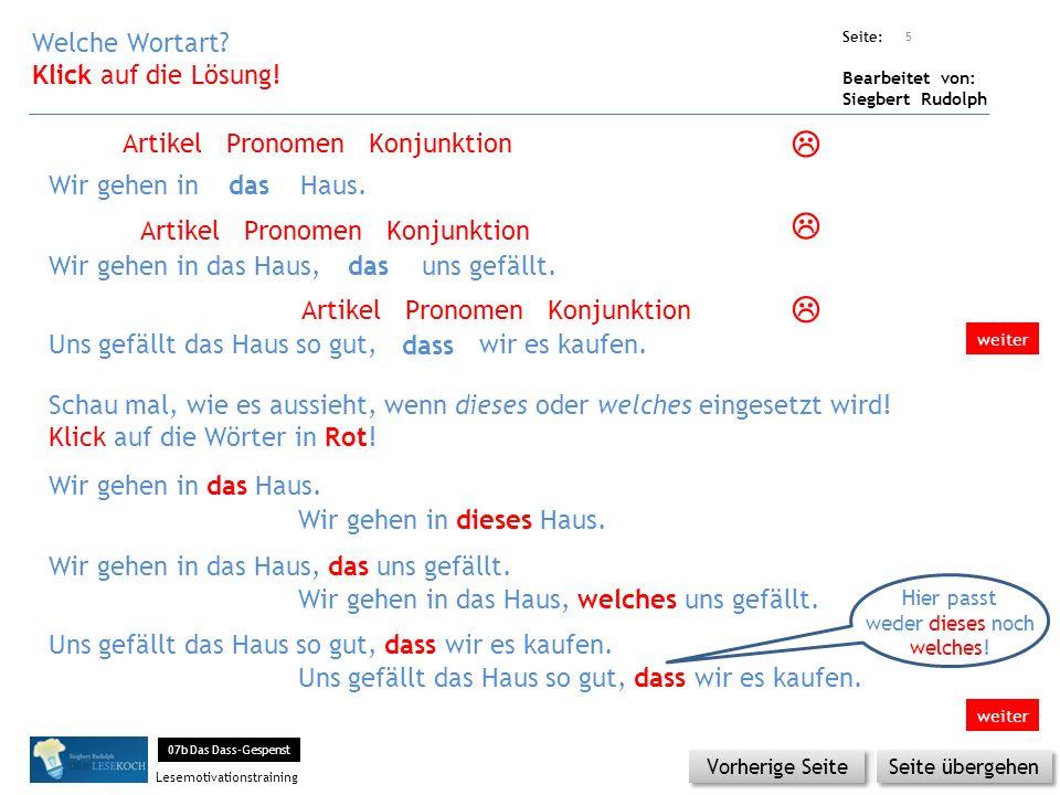 Übungsart: Seite: Bearbeitet von: Siegbert Rudolph Lesemotivationstraining 5 Welche Wortart.