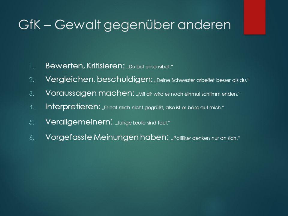 "GfK – Gewalt gegenüber anderen 1. Bewerten, Kritisieren: ""Du bist unsensibel. 2."