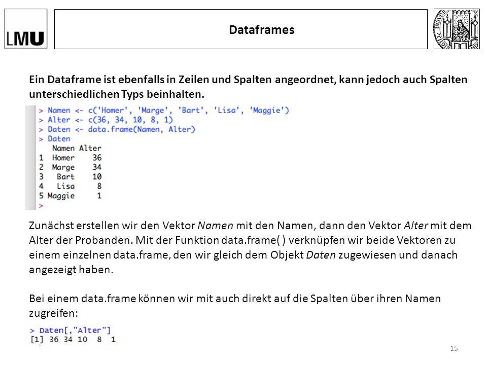 Dataframes Ein Dataframe ist ebenfalls in Zeilen und Spalten angeordnet, kann jedoch auch Spalten unterschiedlichen Typs beinhalten.