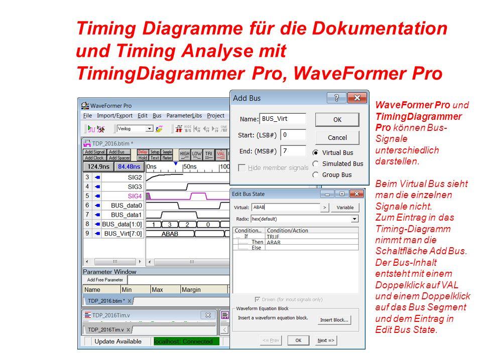 Timing Diagramme für die Dokumentation und Timing Analyse mit TimingDiagrammer Pro, WaveFormer Pro WaveFormer Pro und TimingDiagrammer Pro können Bus- Signale unterschiedlich darstellen.