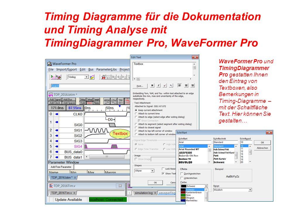 Timing Diagramme für die Dokumentation und Timing Analyse mit TimingDiagrammer Pro, WaveFormer Pro WaveFormer Pro und TimingDiagrammer Pro gestatten Ihnen den Eintrag von Textboxen, also Bemerkungen in Timing-Diagramme – mit der Schaltfläche Text.