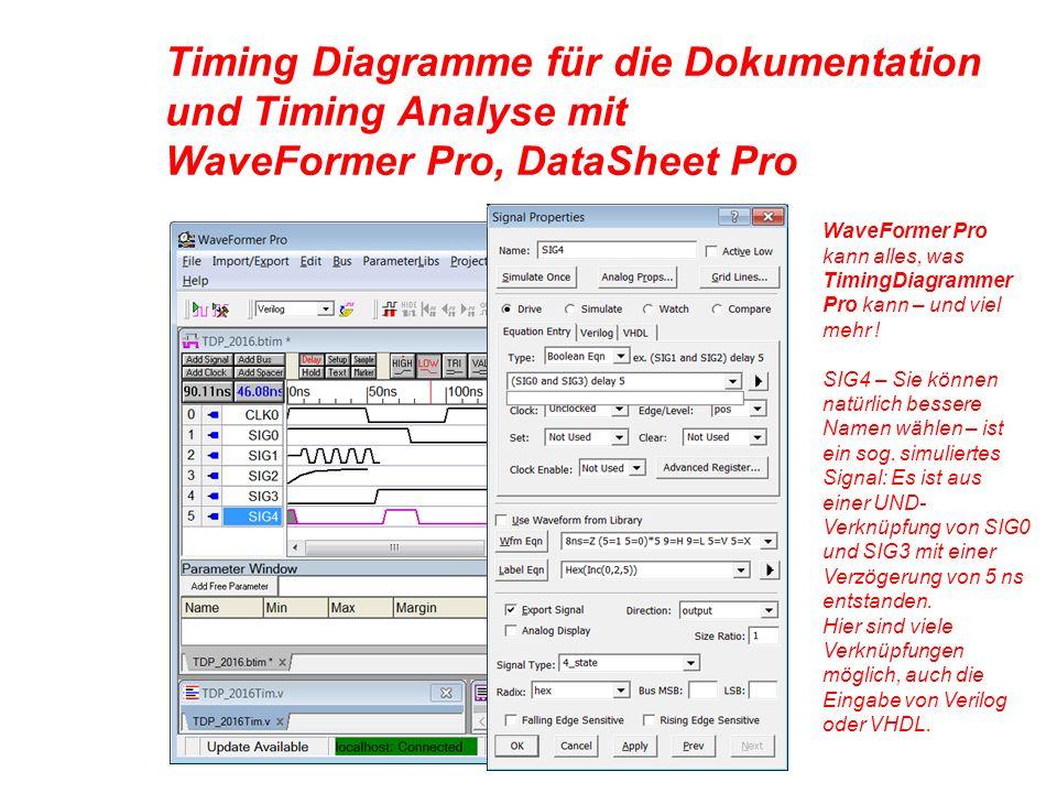 Timing Diagramme für die Dokumentation und Timing Analyse mit WaveFormer Pro, DataSheet Pro WaveFormer Pro kann alles, was TimingDiagrammer Pro kann – und viel mehr .