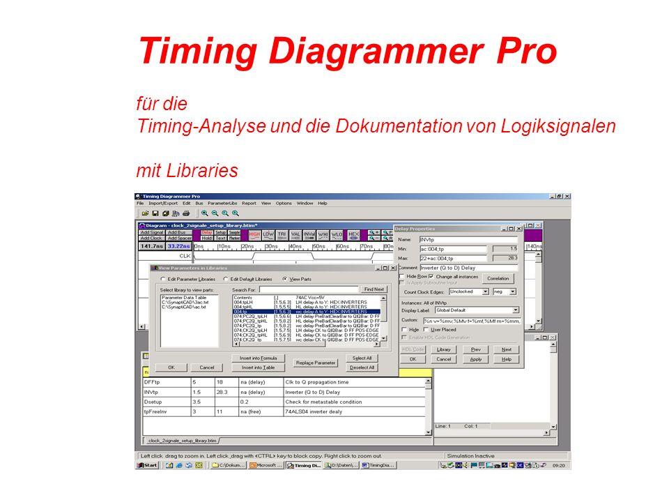 Timing Diagrammer Pro für die Timing-Analyse und die Dokumentation von Logiksignalen mit Libraries