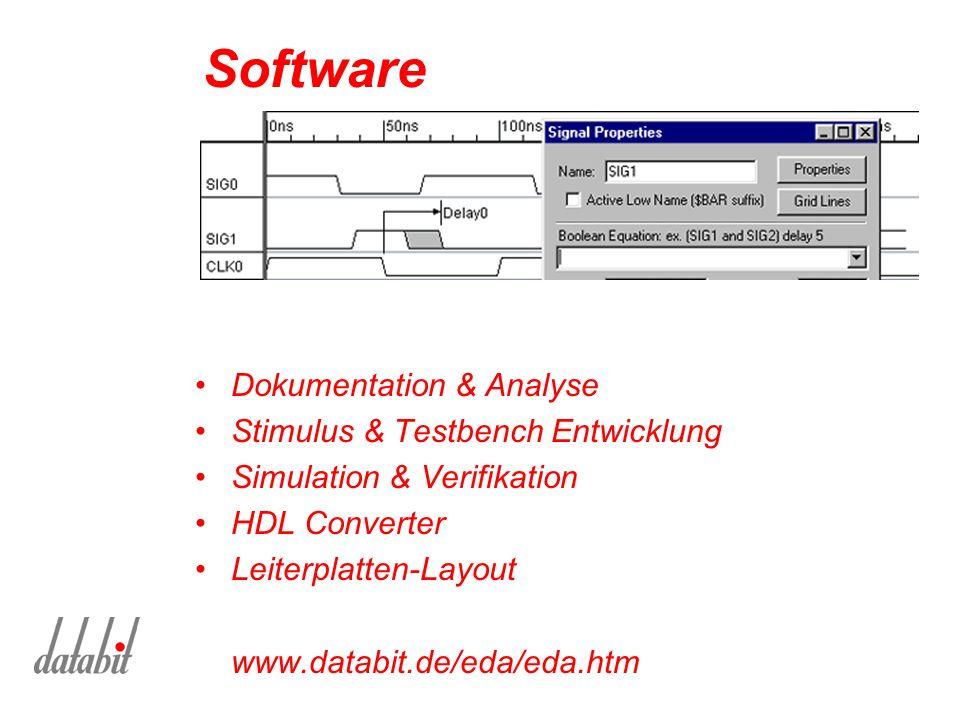 Software Dokumentation & Analyse Stimulus & Testbench Entwicklung Simulation & Verifikation HDL Converter Leiterplatten-Layout www.databit.de/eda/eda.htm
