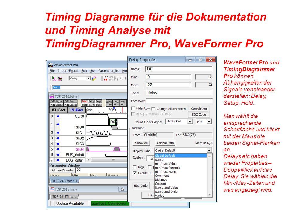 Timing Diagramme für die Dokumentation und Timing Analyse mit TimingDiagrammer Pro, WaveFormer Pro WaveFormer Pro und TimingDiagrammer Pro können Abhängigkeiten der Signale voneinander darstellen: Delay, Setup, Hold.
