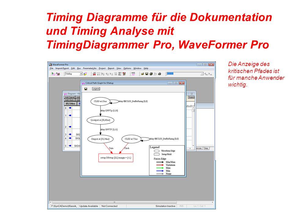 Timing Diagramme für die Dokumentation und Timing Analyse mit TimingDiagrammer Pro, WaveFormer Pro Die Anzeige des kritischen Pfades ist für manche Anwender wichtig.