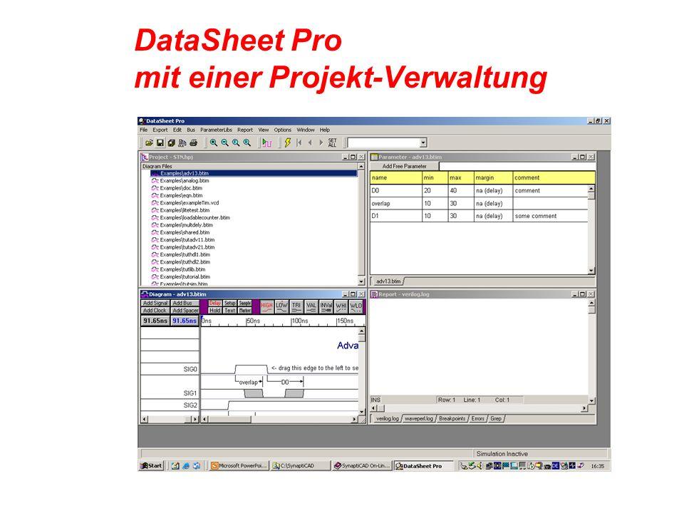DataSheet Pro mit einer Projekt-Verwaltung