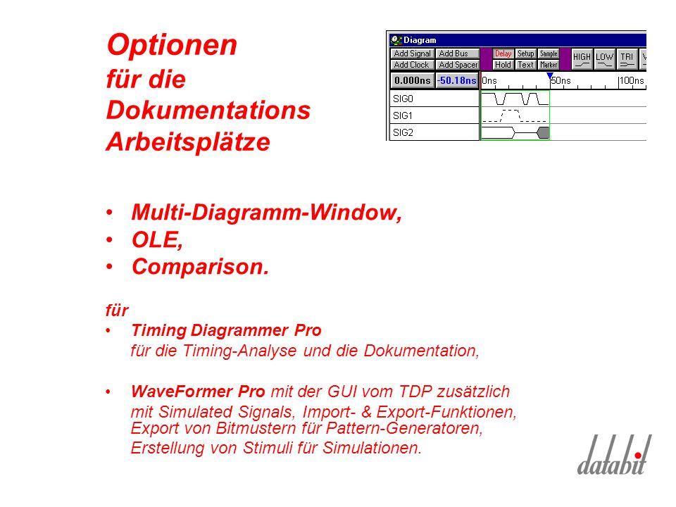 Optionen für die Dokumentations Arbeitsplätze Multi-Diagramm-Window, OLE, Comparison.