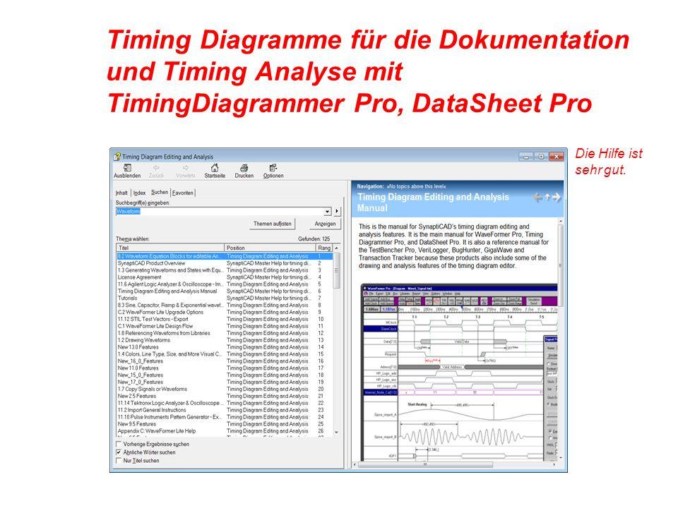 Timing Diagramme für die Dokumentation und Timing Analyse mit TimingDiagrammer Pro, DataSheet Pro Die Hilfe ist sehr gut.