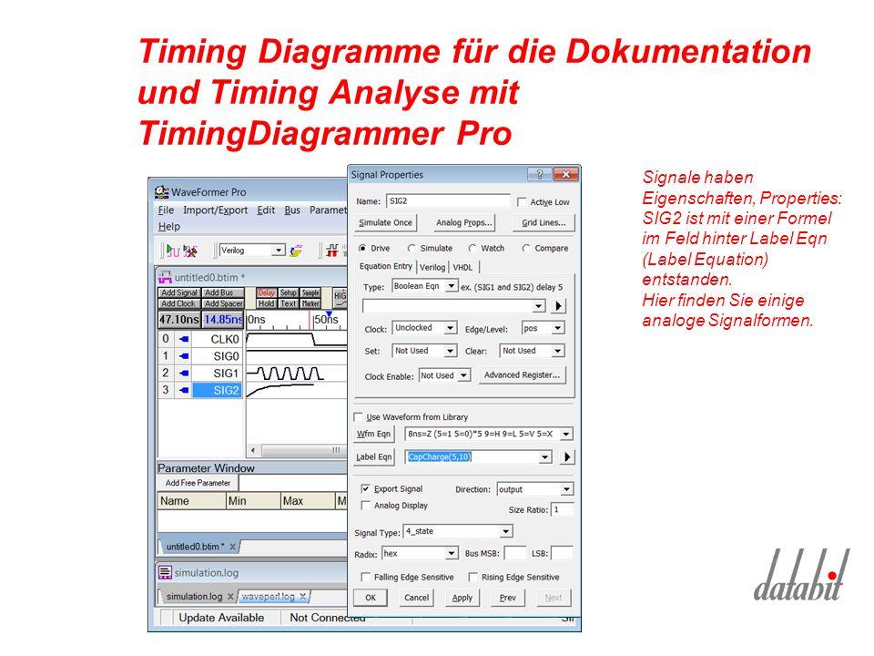Timing Diagramme für die Dokumentation und Timing Analyse mit TimingDiagrammer Pro Signale haben Eigenschaften, Properties: SIG2 ist mit einer Formel im Feld hinter Label Eqn (Label Equation) entstanden.