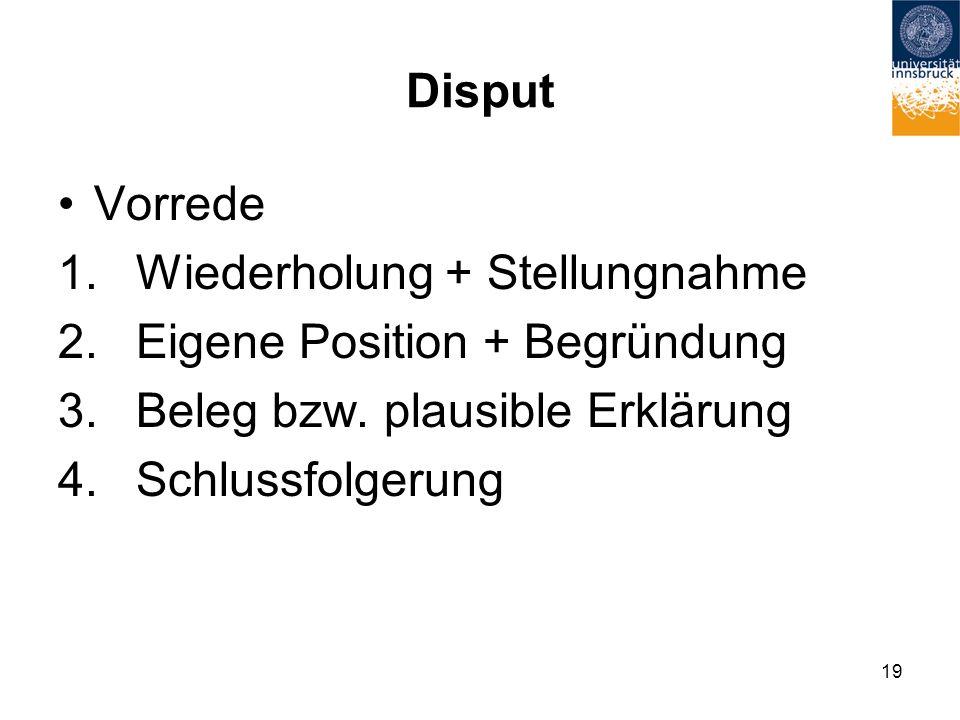 Disput Vorrede 1.Wiederholung + Stellungnahme 2.Eigene Position + Begründung 3.Beleg bzw.