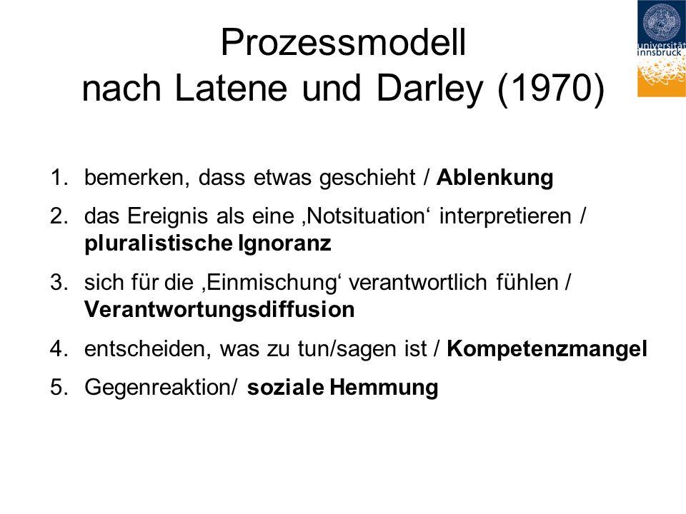 Prozessmodell nach Latene und Darley (1970) 1.bemerken, dass etwas geschieht / Ablenkung 2.das Ereignis als eine 'Notsituation' interpretieren / pluralistische Ignoranz 3.sich für die 'Einmischung' verantwortlich fühlen / Verantwortungsdiffusion 4.entscheiden, was zu tun/sagen ist / Kompetenzmangel 5.Gegenreaktion/ soziale Hemmung