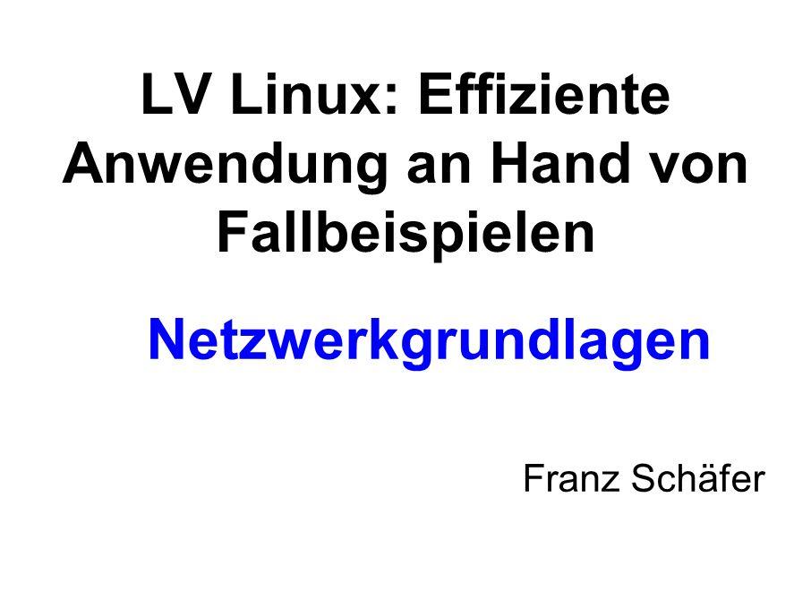 Netzwerkgrundlagen Franz Schäfer LV Linux: Effiziente Anwendung an Hand von Fallbeispielen