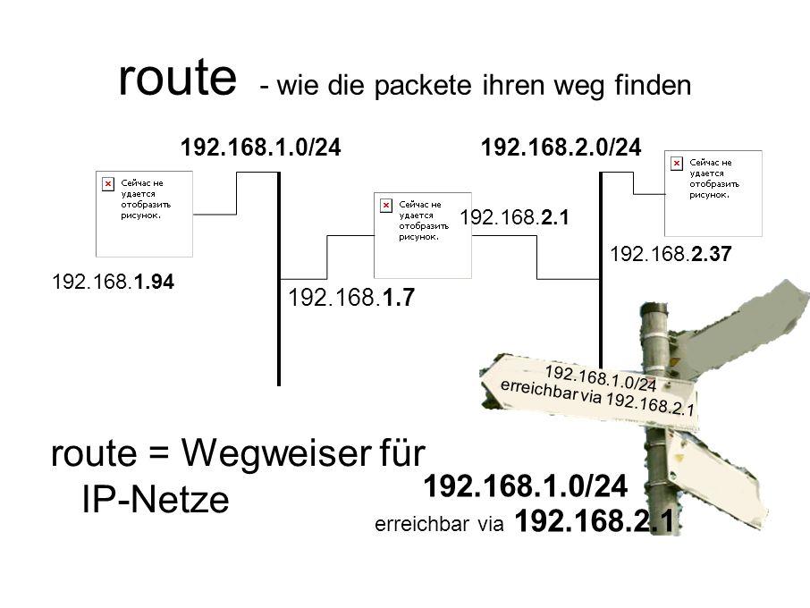 route - wie die packete ihren weg finden route = Wegweiser für IP-Netze 192.168.1.0/24 192.168.2.37 192.168.2.0/24 192.168.2.1 192.168.1.94 192.168.1.7 192.168.1.0/24 erreichbar via 192.168.2.1 192.168.1.0/24 erreichbar via 192.168.2.1