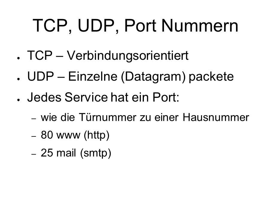 TCP, UDP, Port Nummern ● TCP – Verbindungsorientiert ● UDP – Einzelne (Datagram) packete ● Jedes Service hat ein Port: – wie die Türnummer zu einer Hausnummer – 80 www (http) – 25 mail (smtp)