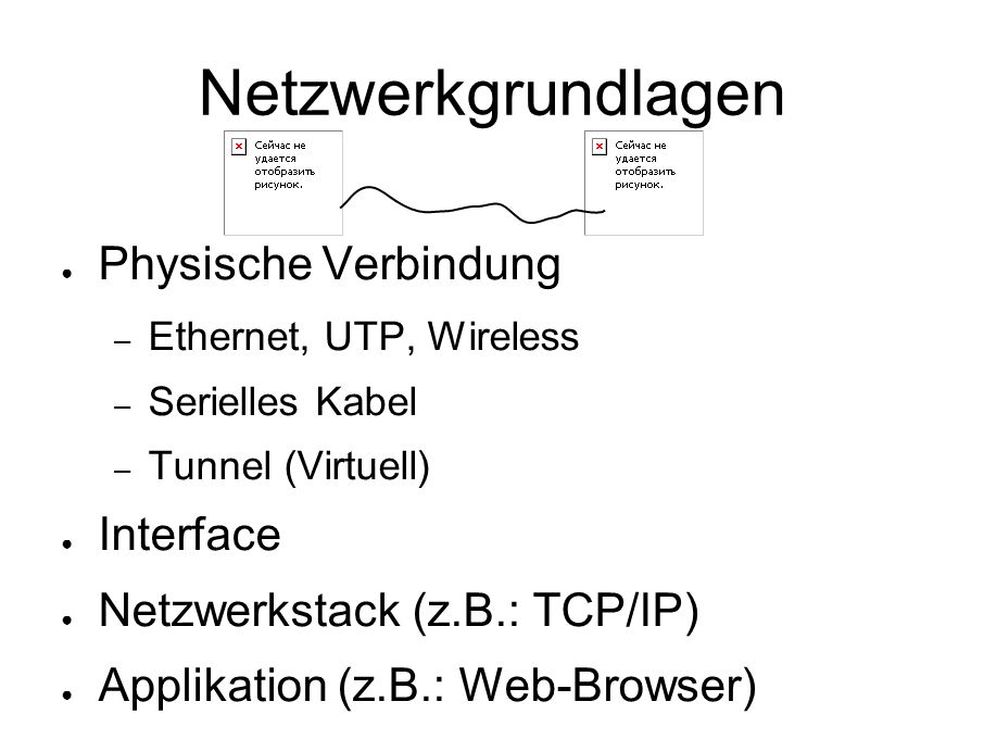Netzwerkgrundlagen ● Physische Verbindung – Ethernet, UTP, Wireless – Serielles Kabel – Tunnel (Virtuell) ● Interface ● Netzwerkstack (z.B.: TCP/IP) ● Applikation (z.B.: Web-Browser)