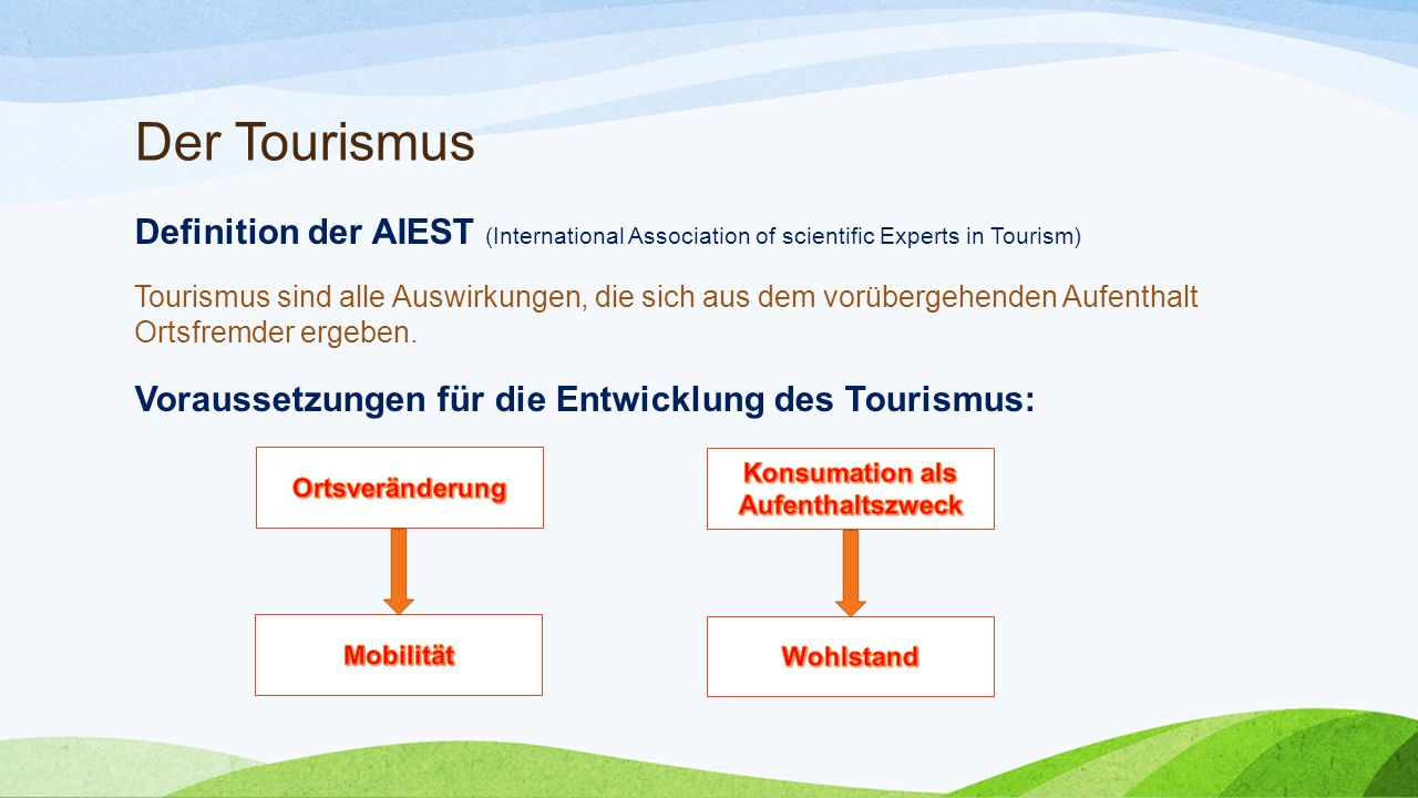 Der Tourismus Definition der AIEST (International Association of scientific Experts in Tourism) Tourismus sind alle Auswirkungen, die sich aus dem vorübergehenden Aufenthalt Ortsfremder ergeben.