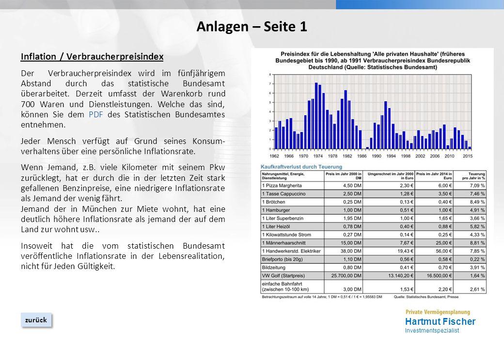 YOUR LOGO Anlagen – Seite 1 Inflation / Verbraucherpreisindex Der Verbraucherpreisindex wird im fünfjährigem Abstand durch das statistische Bundesamt überarbeitet.