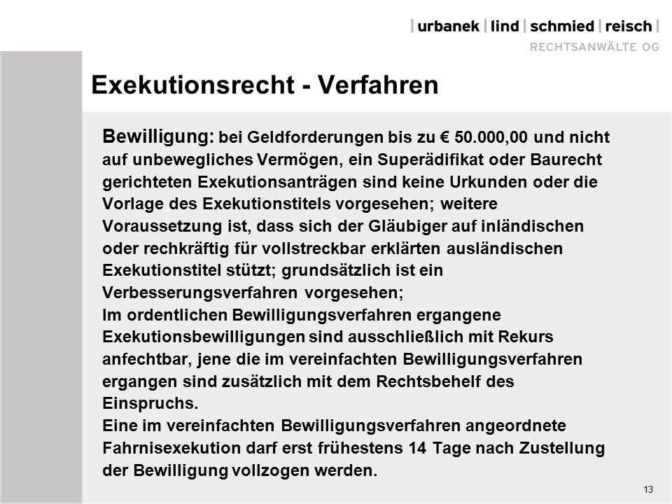 Exekutionsrecht - Verfahren Bewilligung: bei Geldforderungen bis zu € 50.000,00 und nicht auf unbewegliches Vermögen, ein Superädifikat oder Baurecht gerichteten Exekutionsanträgen sind keine Urkunden oder die Vorlage des Exekutionstitels vorgesehen; weitere Voraussetzung ist, dass sich der Gläubiger auf inländischen oder rechkräftig für vollstreckbar erklärten ausländischen Exekutionstitel stützt; grundsätzlich ist ein Verbesserungsverfahren vorgesehen; Im ordentlichen Bewilligungsverfahren ergangene Exekutionsbewilligungen sind ausschließlich mit Rekurs anfechtbar, jene die im vereinfachten Bewilligungsverfahren ergangen sind zusätzlich mit dem Rechtsbehelf des Einspruchs.
