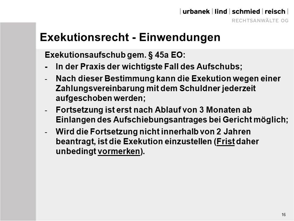 Exekutionsrecht - Einwendungen Exekutionsaufschub gem.