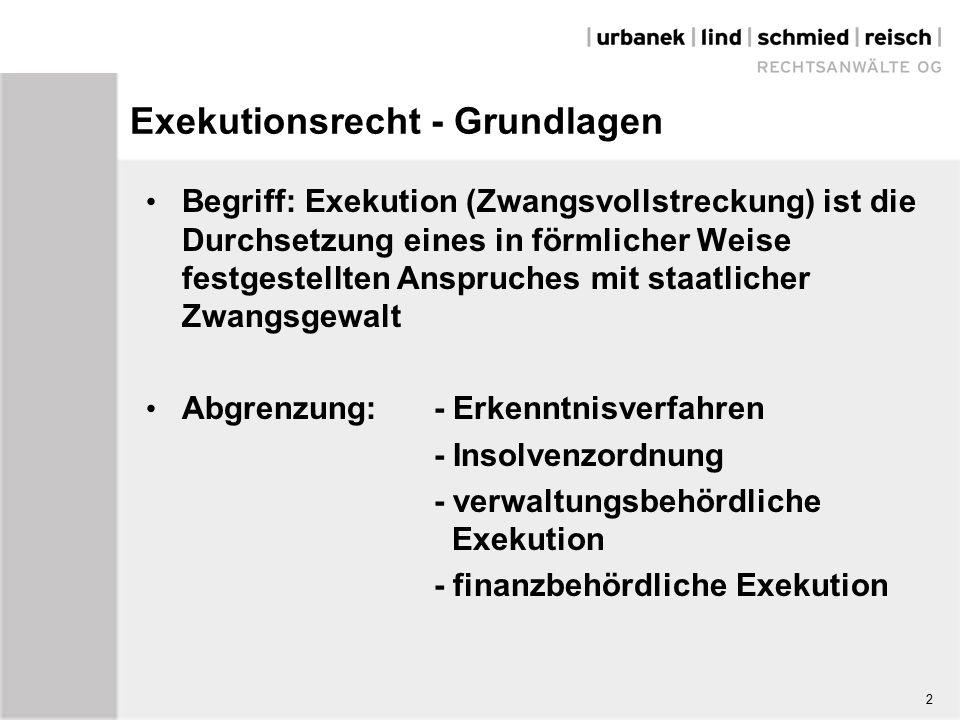 Exekutionsrecht - Grundlagen Begriff: Exekution (Zwangsvollstreckung) ist die Durchsetzung eines in förmlicher Weise festgestellten Anspruches mit staatlicher Zwangsgewalt Abgrenzung: - Erkenntnisverfahren - Insolvenzordnung - verwaltungsbehördliche Exekution - finanzbehördliche Exekution 2