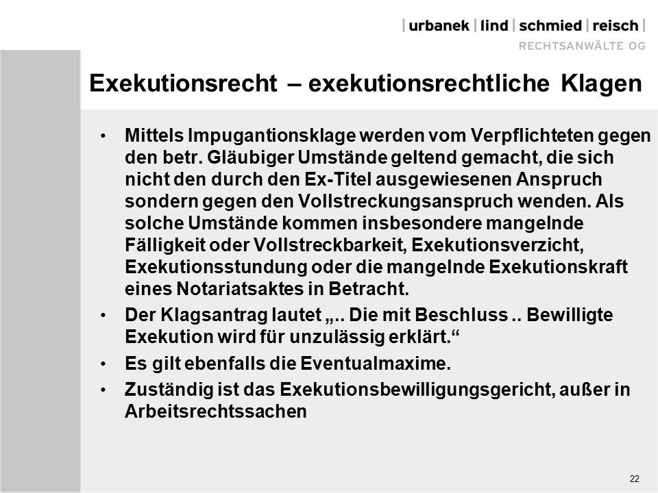 Exekutionsrecht – exekutionsrechtliche Klagen Mittels Impugantionsklage werden vom Verpflichteten gegen den betr.