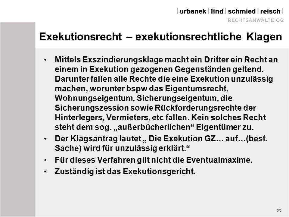 Exekutionsrecht – exekutionsrechtliche Klagen Mittels Exszindierungsklage macht ein Dritter ein Recht an einem in Exekution gezogenen Gegenständen geltend.