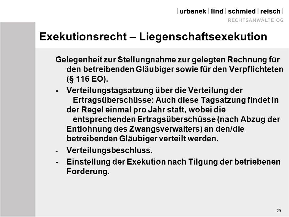 Exekutionsrecht – Liegenschaftsexekution Gelegenheit zur Stellungnahme zur gelegten Rechnung für den betreibenden Gläubiger sowie für den Verpflichteten (§ 116 EO).
