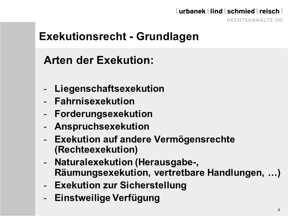 4 Exekutionsrecht - Grundlagen Arten der Exekution: - Liegenschaftsexekution - Fahrnisexekution - Forderungsexekution - Anspruchsexekution - Exekution auf andere Vermögensrechte (Rechteexekution) - Naturalexekution (Herausgabe-, Räumungsexekution, vertretbare Handlungen, …) - Exekution zur Sicherstellung - Einstweilige Verfügung