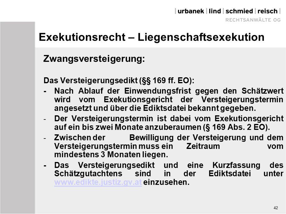 Exekutionsrecht – Liegenschaftsexekution Zwangsversteigerung: Das Versteigerungsedikt (§§ 169 ff.
