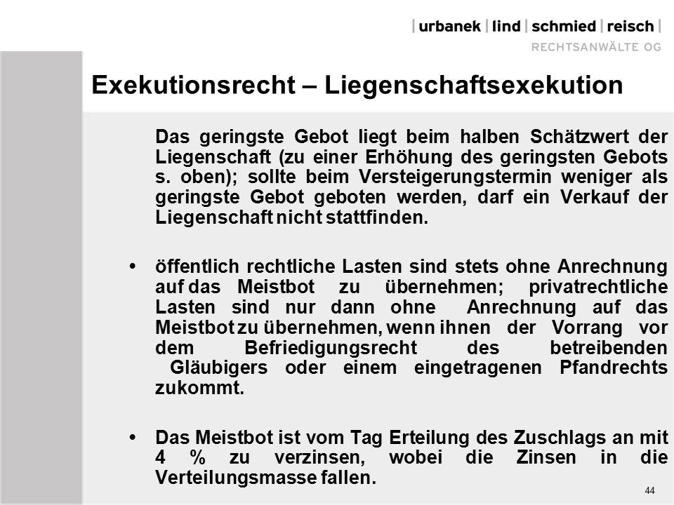 Exekutionsrecht – Liegenschaftsexekution Das geringste Gebot liegt beim halben Schätzwert der Liegenschaft (zu einer Erhöhung des geringsten Gebots s.