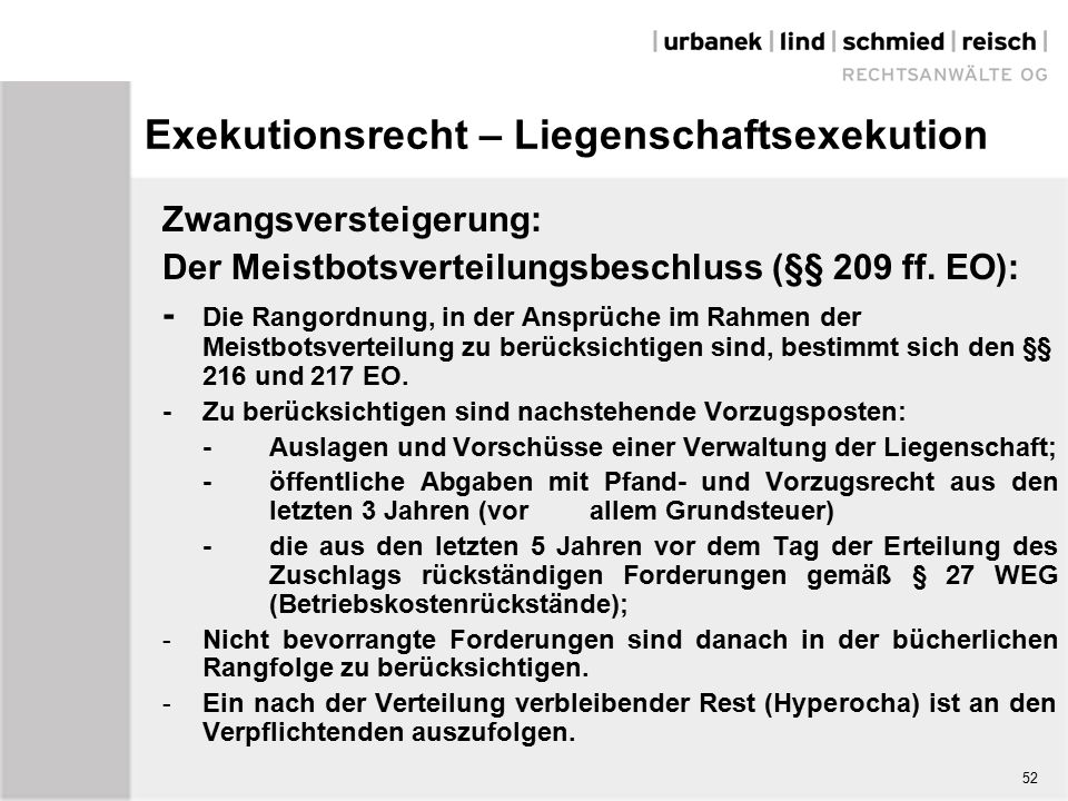 Exekutionsrecht – Liegenschaftsexekution Zwangsversteigerung: Der Meistbotsverteilungsbeschluss (§§ 209 ff.