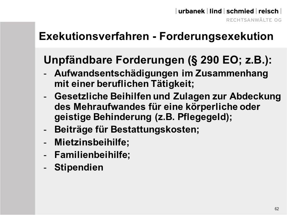 Exekutionsverfahren - Forderungsexekution Unpfändbare Forderungen (§ 290 EO; z.B.): - Aufwandsentschädigungen im Zusammenhang mit einer beruflichen Tätigkeit; - Gesetzliche Beihilfen und Zulagen zur Abdeckung des Mehraufwandes für eine körperliche oder geistige Behinderung (z.B.