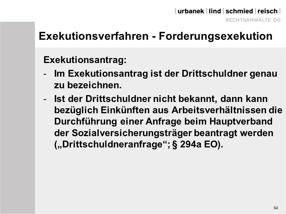 Exekutionsverfahren - Forderungsexekution Exekutionsantrag: - Im Exekutionsantrag ist der Drittschuldner genau zu bezeichnen.
