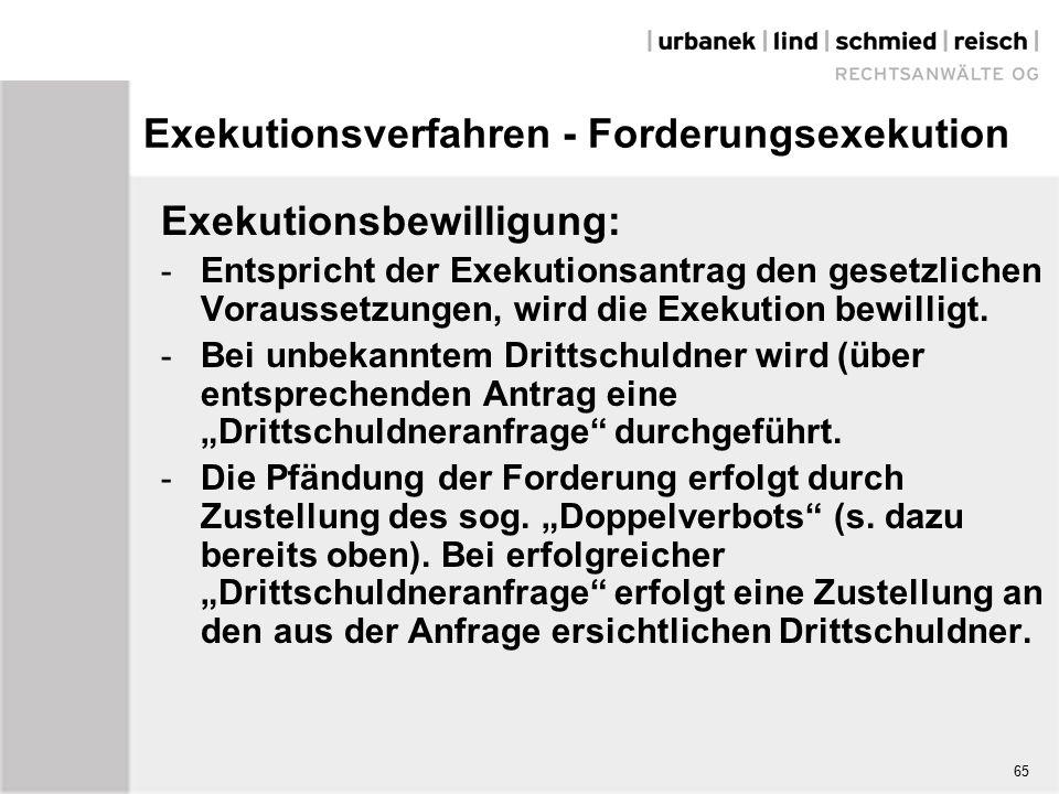 Exekutionsverfahren - Forderungsexekution Exekutionsbewilligung: - Entspricht der Exekutionsantrag den gesetzlichen Voraussetzungen, wird die Exekution bewilligt.