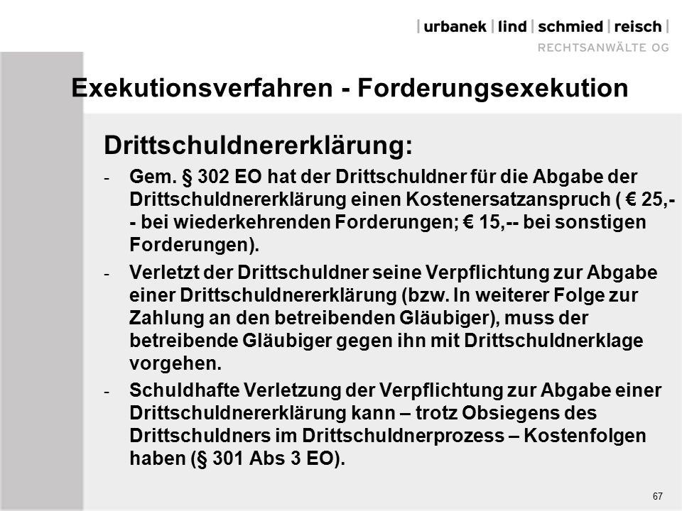 Exekutionsverfahren - Forderungsexekution Drittschuldnererklärung: - Gem.