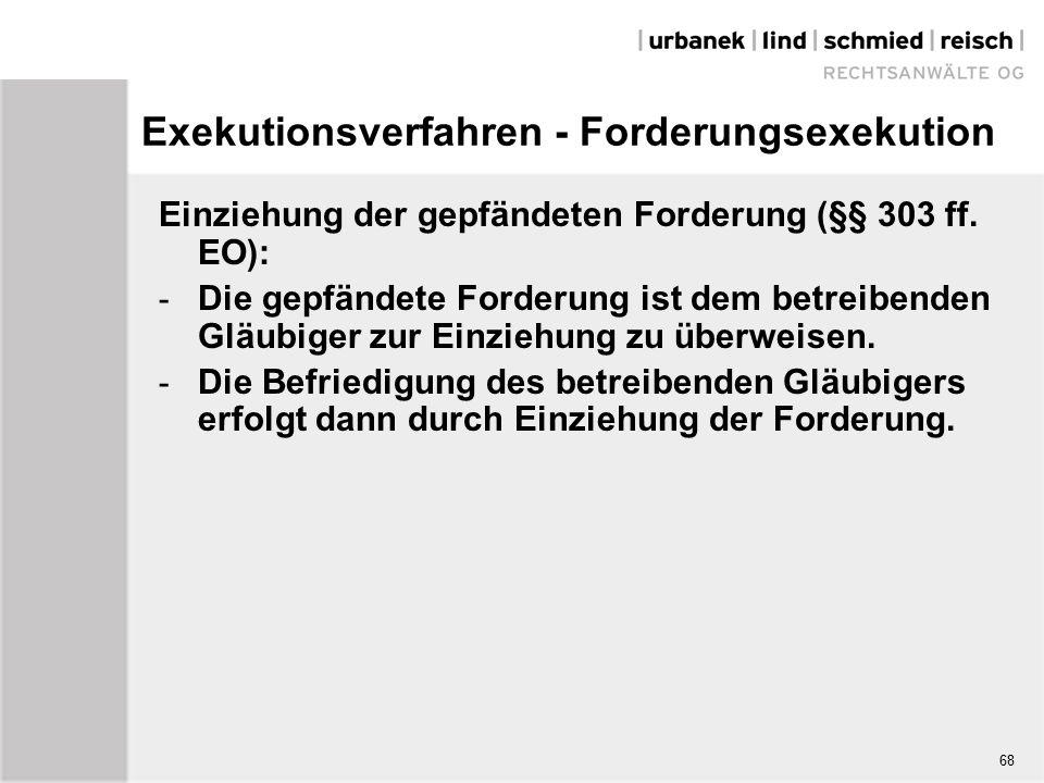 Exekutionsverfahren - Forderungsexekution Einziehung der gepfändeten Forderung (§§ 303 ff.