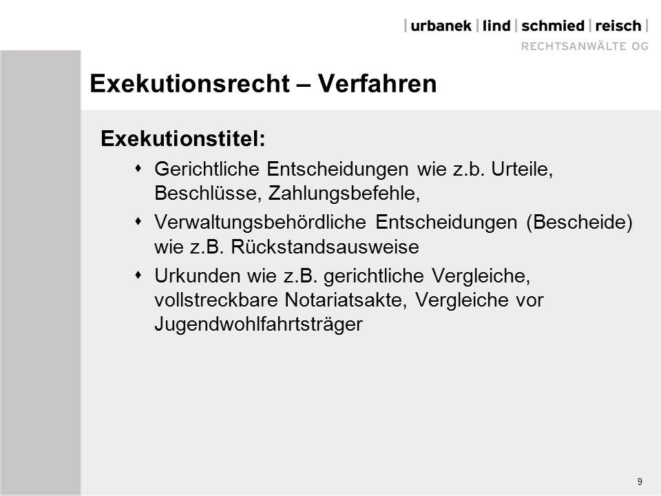 9 Exekutionsrecht – Verfahren Exekutionstitel:  Gerichtliche Entscheidungen wie z.b.