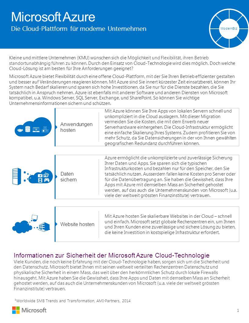 Microsoft Azure Die Cloud-Plattform für moderne Unternehmen ModernBiz 1 Kleine und mittlere Unternehmen (KMU) wünschen sich die Möglichkeit und Flexibilität, ihren Betrieb standortunabhängig führen zu können.