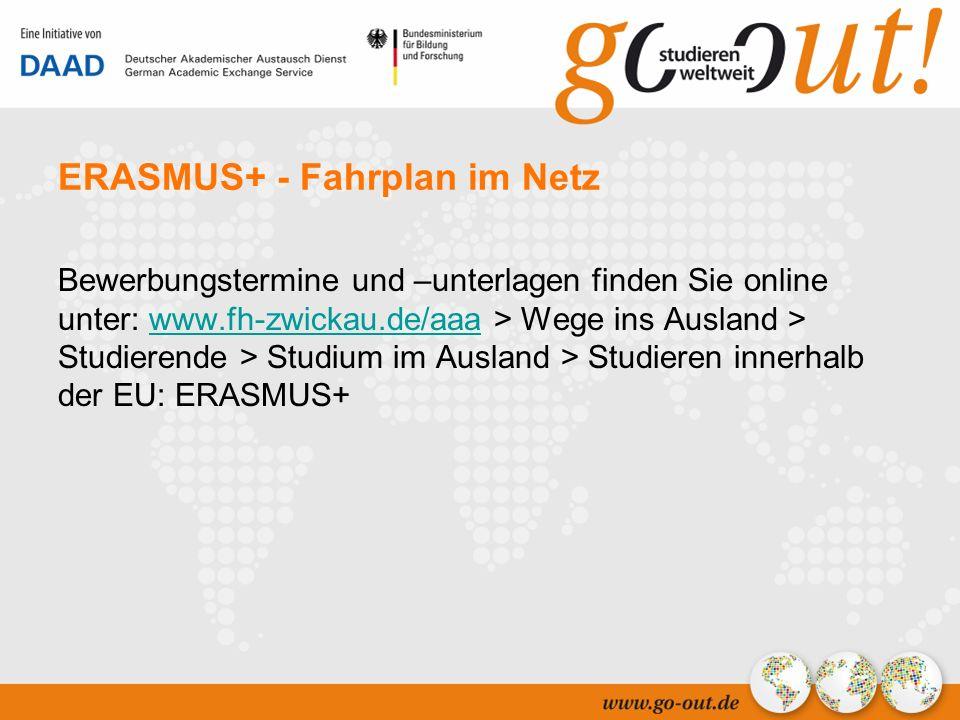 04/2006 11 ERASMUS+ - Fahrplan im Netz Bewerbungstermine und –unterlagen finden Sie online unter: www.fh-zwickau.de/aaa > Wege ins Ausland > Studierende > Studium im Ausland > Studieren innerhalb der EU: ERASMUS+www.fh-zwickau.de/aaa