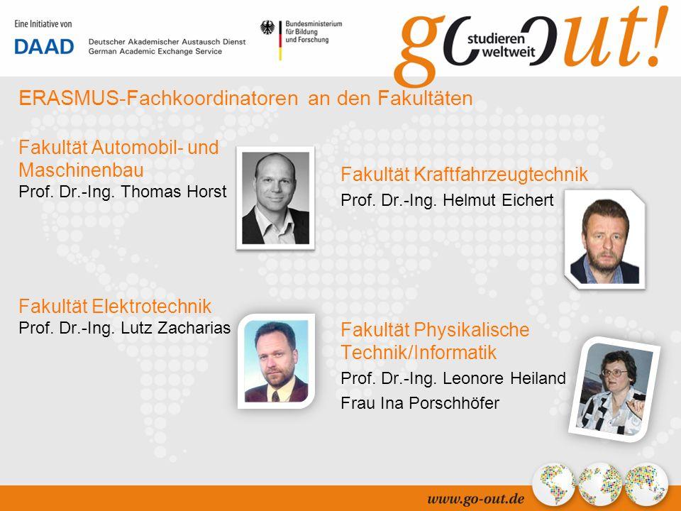 04/2006 13 ERASMUS-Fachkoordinatoren an den Fakultäten Fakultät Automobil- und Maschinenbau Prof.