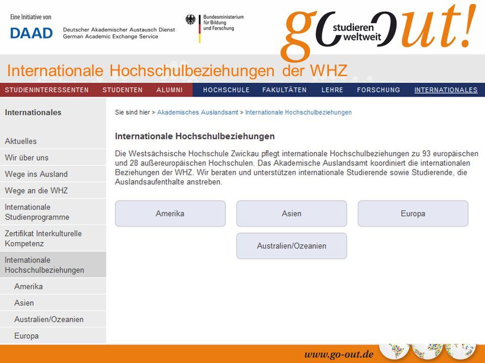 04/2006 20 Internationale Hochschulbeziehungen der WHZ