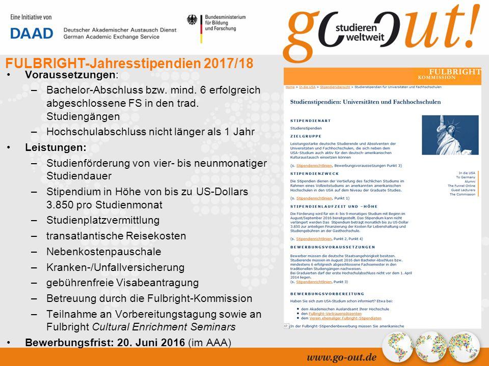 04/2006 28 FULBRIGHT-Jahresstipendien 2017/18 Voraussetzungen: –Bachelor-Abschluss bzw.