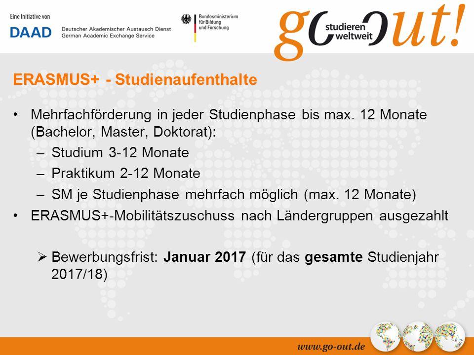 04/2006 7 ERASMUS+ - Studienaufenthalte Mehrfachförderung in jeder Studienphase bis max.