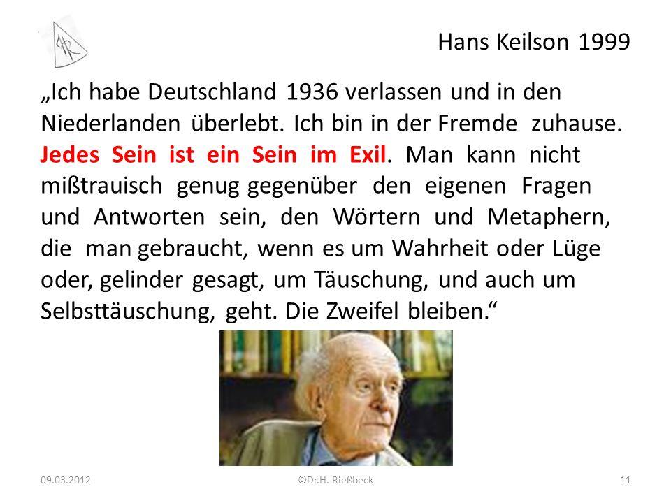 """Hans Keilson 1999 """"Ich habe Deutschland 1936 verlassen und in den Niederlanden überlebt."""