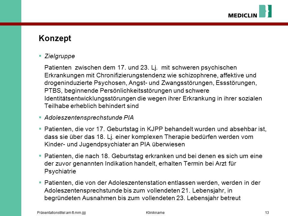 Konzept  Zielgruppe Patienten zwischen dem 17. und 23.